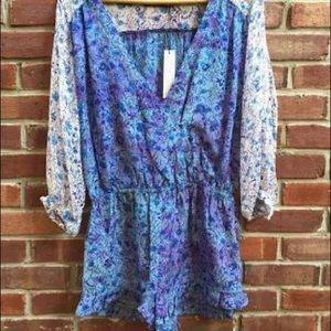Gypsy 05 Blue Purple Floral Silk Romper Ruffle